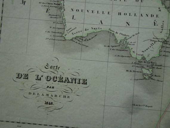 OCEANIA map 1846 original antique poster map of by VintageOldMaps