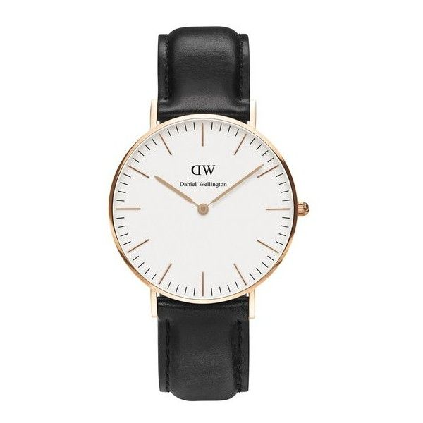 Daniel Wellington Men's Classic Sheffield Rose Watch - Black ($280) ❤ liked on Polyvore featuring jewelry, watches, buckle watches, black watches, unisex watches, buckle jewelry и thin watches