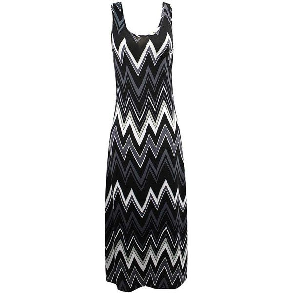 Black White & Gray Sleeveless Chevron Maxi Sun Dress ($25) ❤ liked on Polyvore featuring dresses, black, black and white maxi dress, maxi dresses, chevron maxi dresses, gray maxi dress and long maxi dresses
