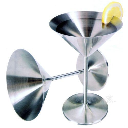 Crisp and modern. Featuring satin finishes and 18/8 stainless steel construction, these handsome stainless steel martini glasses outlast, and keep your Martinis and Cosmopolitans colder longer than...