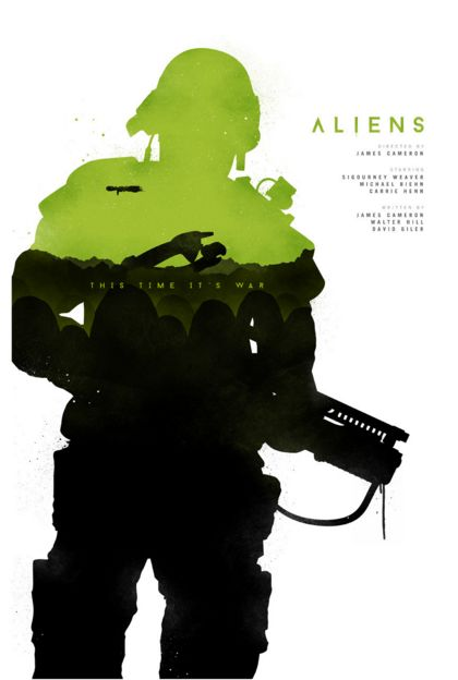 Aliens (1986) ~ Minimal Movie Poster by Joseph Harrold #amusementphile