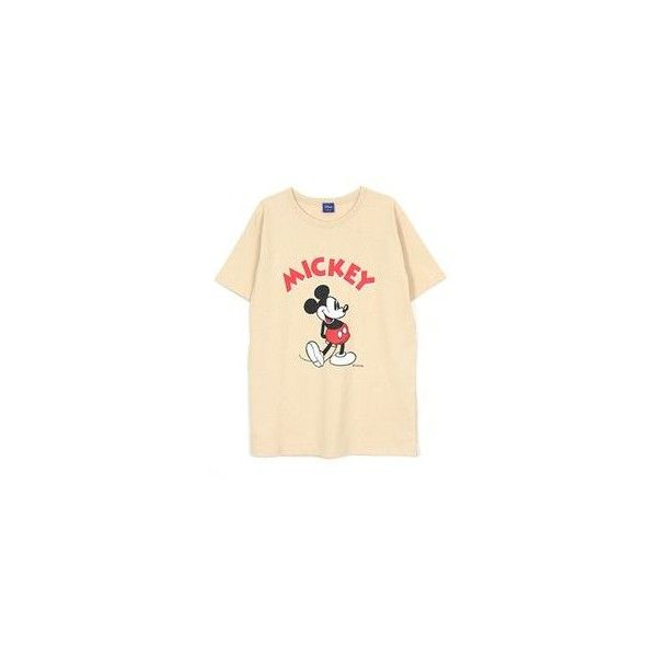 Mickey Mouse T-Shirt (£18) ❤ liked on Polyvore featuring tops, t-shirts, tees, women, mickey mouse t shirt, cotton t shirt, cotton tee, mickey mouse tee and beige top