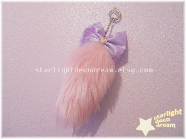 READY TO SHIP Pink Starlight Mini Fairy Fox Tail Keychain for Fairy Kei Kawaii Cute Decora Gyaru Fashion. $18.00, via Etsy.