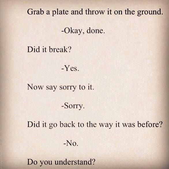 Great way to teach kids about hurting someone and that sorry doesn't always make it better.