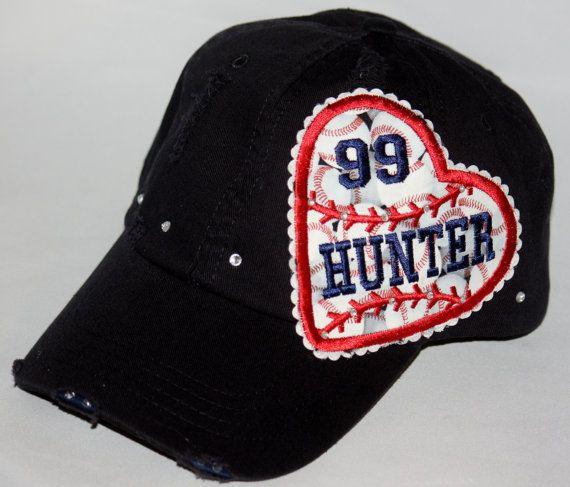 Custom BASEBALL hat.  Custom baseball heart embroidery