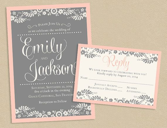 Blush and Gray Wedding Invite and RSVP White by seedtosprout