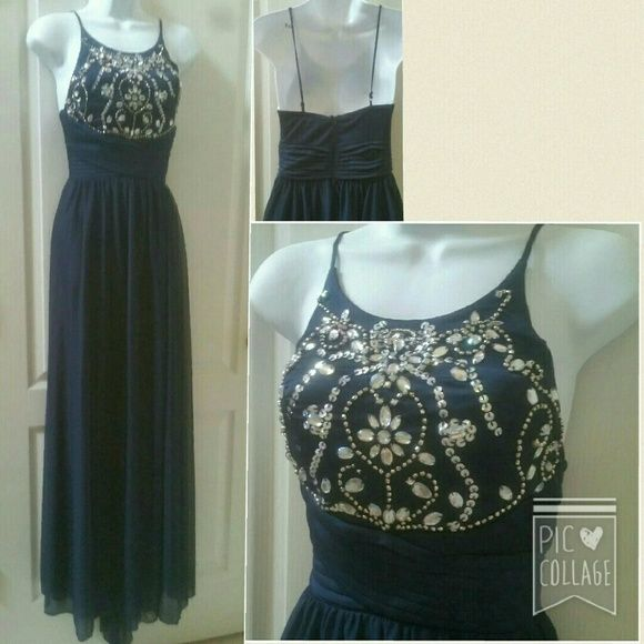 Beautiful navy gown Size 1-2  NWT  Somewhat high neckline  Beaded top  Spaghetti straps  Zipper back Dresses
