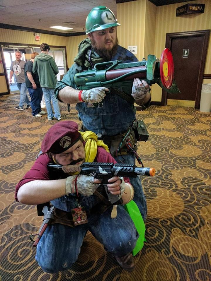 So here is me and my cousin in our post apocalyptic mario bros cosplay thats me as mario.