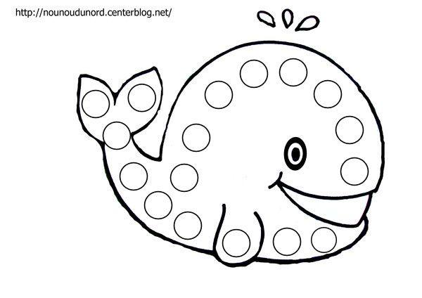 B comme baleine ! Coloriage à gommettes la baleine dessiné par nounoudunord.