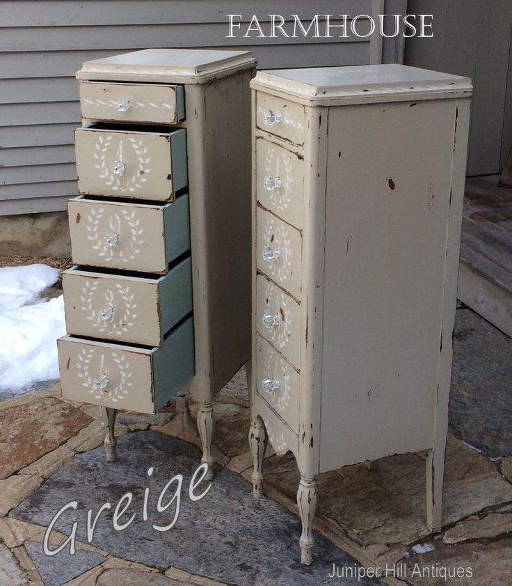 Stenciled Tall Stands, Farmhouse Chic Style, Greige Chalk Paint, Beautifully Distressed, Circa 1940 Vintage by JuniperHillAntiques on Etsy https://www.etsy.com/listing/496384972/stenciled-tall-stands-farmhouse-chic