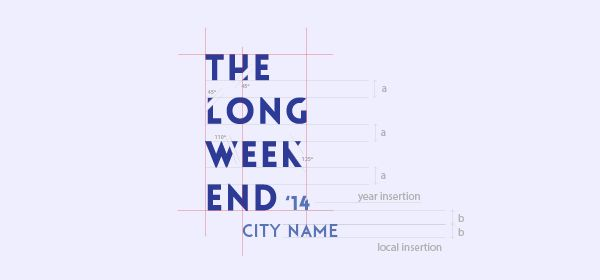 Logotype construction ||  Visual identity created for a new event that must have a duration of a weekend with three days in the middle of a city, by Sofia Gralha. It mixes culture, music, animation, fashion, shopping and gastronomy, with many activities occurring simultaneously.