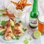 Pilons de Poulet marinés à la Bière Licorne Primeur et au Citron vert, Frites de légumes