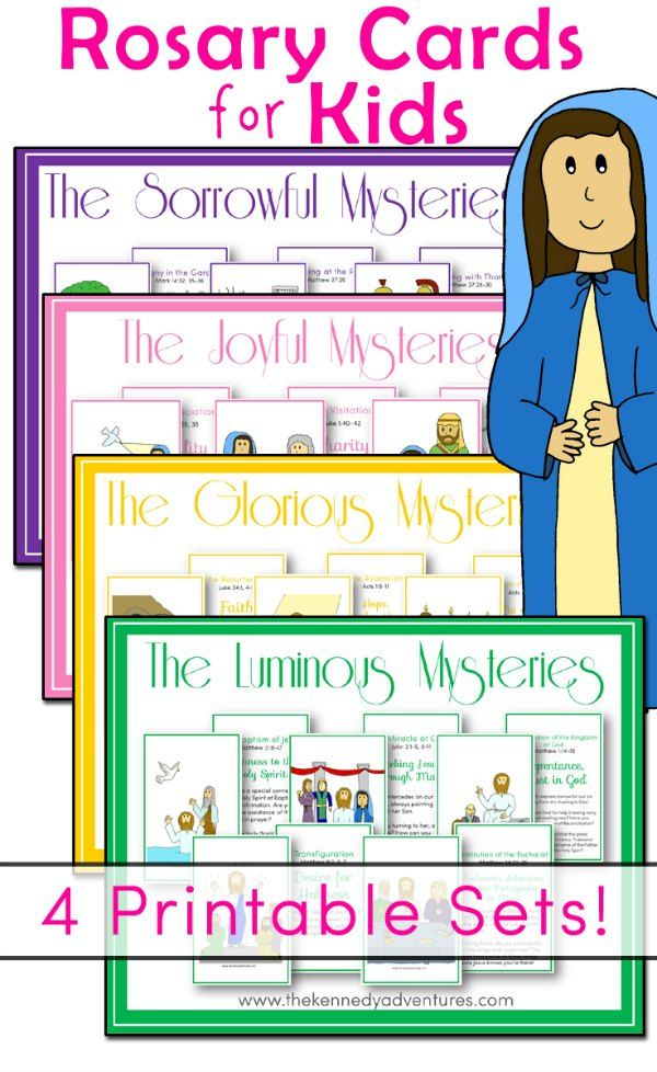 You'll find cards for all 20 Mysteries here, in one easy download. They're designed to print front to back, with a Mystery on one side, along with a child friendly reflection and Bible verses on the back. Artwork provided by our friends at Drawn 2B Creative.    Mysteries Included     The Joyful Mysteries The Annunciation The Visitation The Nativity The Presentation of Our Lord The Finding of Lord Jesus in the Temple   The Luminous Mysteries The Baptism in the Jordan The Wedding at Cana…