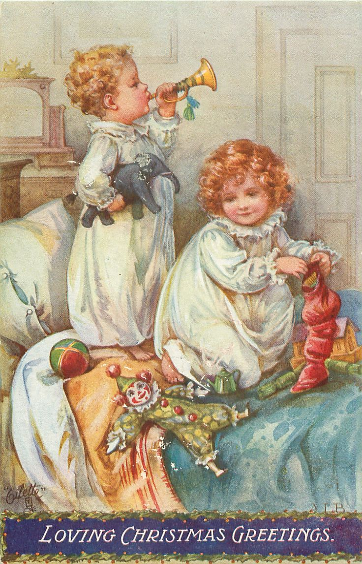 Free printable vintage christmas cards - Ada Leonora Bowley English 1866 1943 Vintage Christmas Postcard