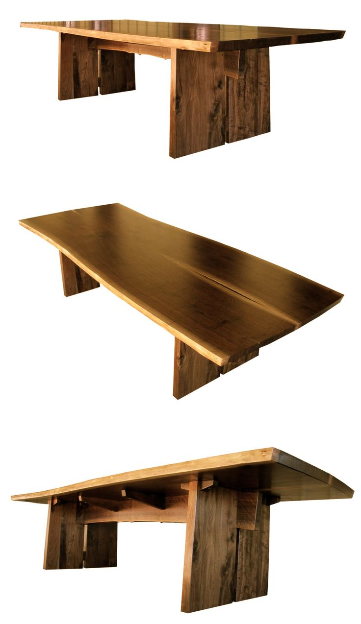 Natural edge dining table w steel hairpin legs from impact imports of - Wood Furniture