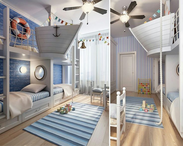 Sailors room for kids with half boat loft