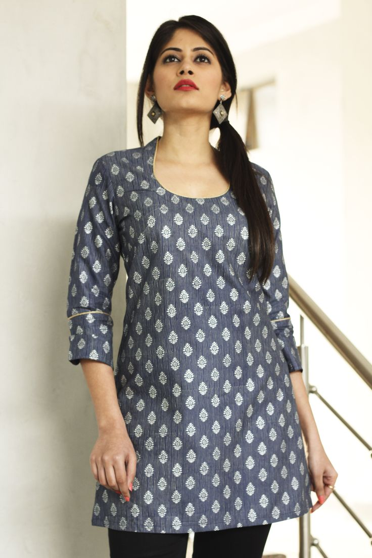 #blue and #silver #kurta, #printed