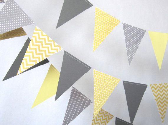 Guirlande mariage, Gray et Bruant de papier jaune, jaune et gris anniversaire décoration, Photo prop, décor de pépinière