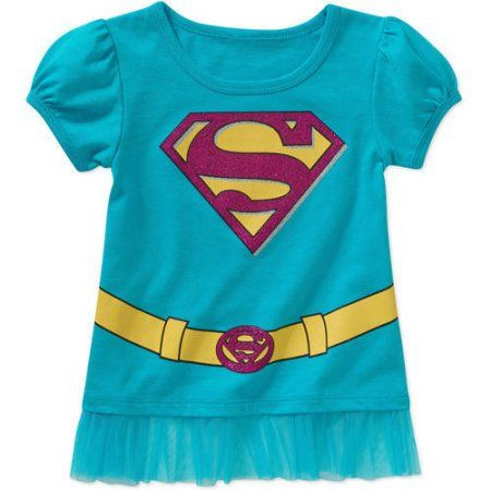 Supergirl Baby Toddler Girl Puff Short Sleeve Graphic Tee Shirt, Blue