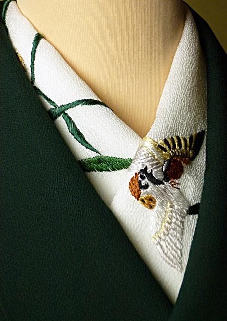 正絹手刺繍半襟 すずめ 京都創作工房きもの凛