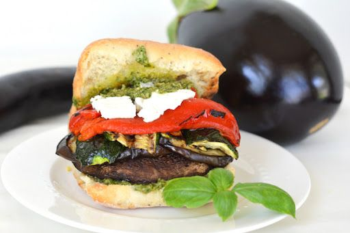 Grilled Portobello and Veggie Sandwiches with Goat Cheese and Pesto ...