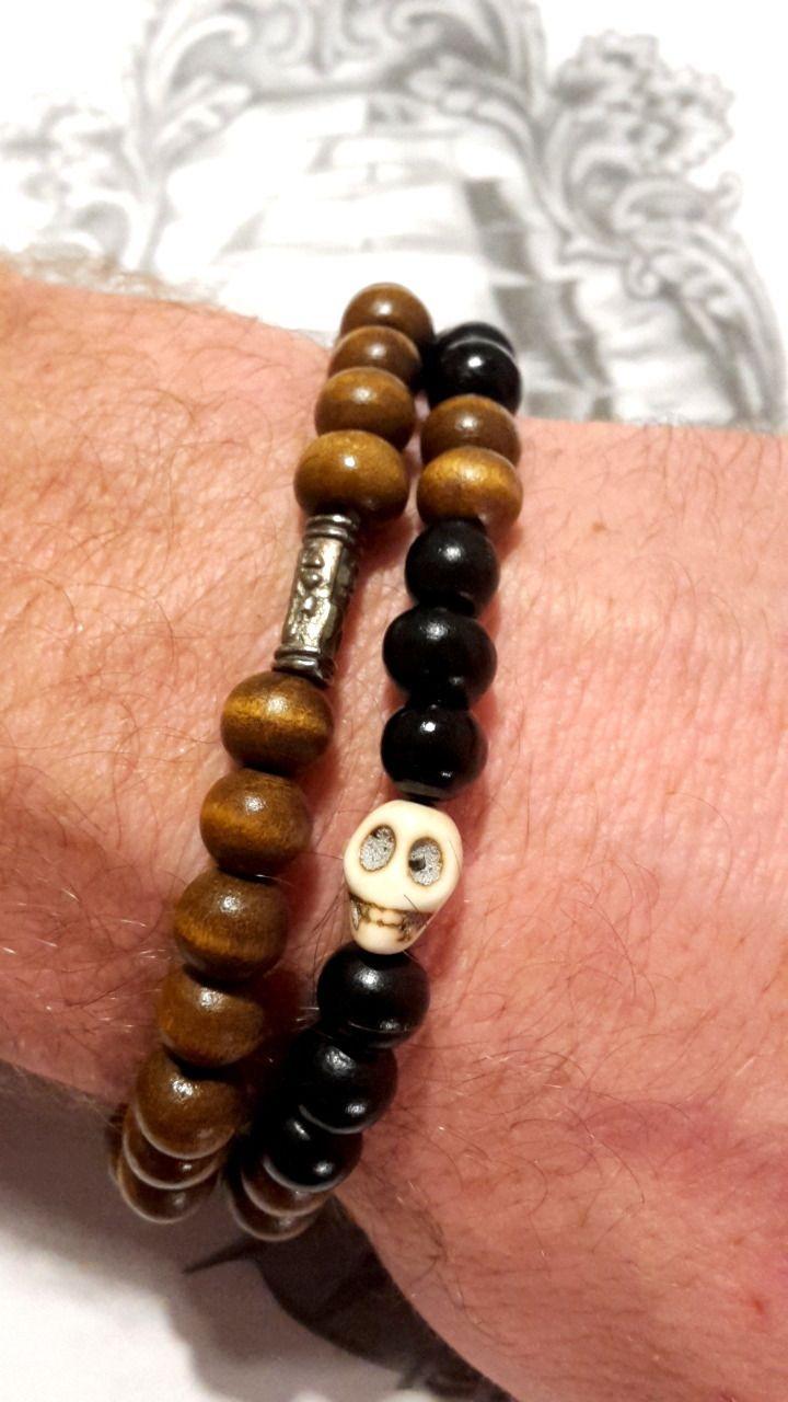 Bracelet double homme perle bois et skull - bijoux homme TessNess : Bijoux pour hommes par tessness