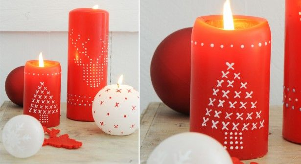Décorer vos bougies de noël au crayon cire ou feutre Posca
