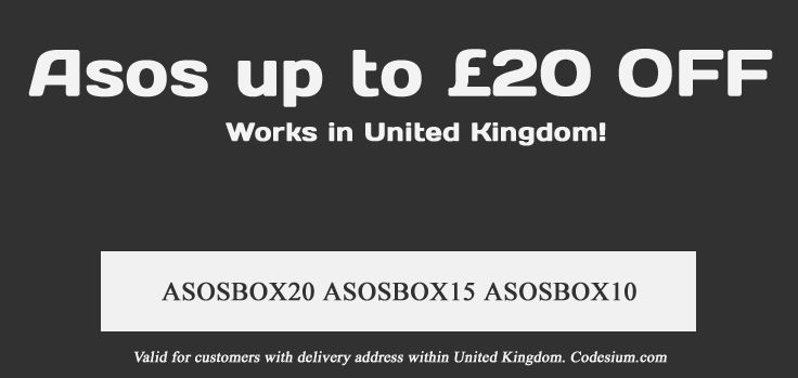 Save up to 20 GBP off on your next ASOS order with these coupons. Valid in the UK http://www.codesium.com/asos-discount-code/