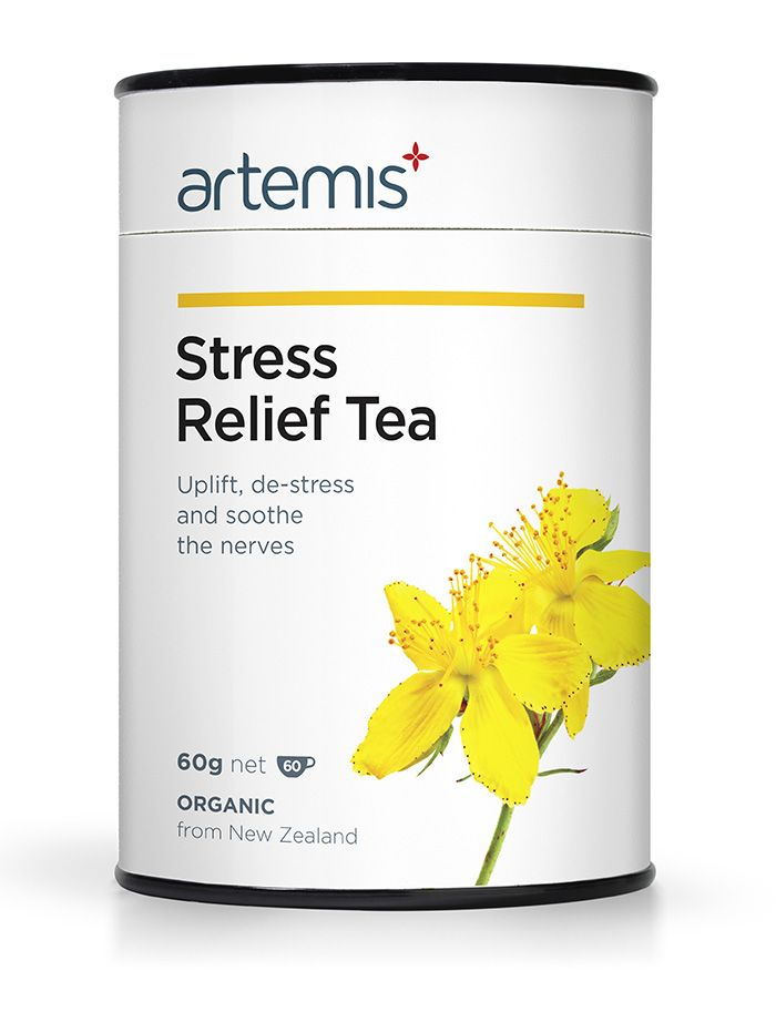 Stress Relief Tea helps you manage stress. It contains St John's Wort, one of the most researched and prescribed medicinal plants in the world. It's affinity with the nervous system is well documented and is commonly used to treat depression. Organic, from NZ.