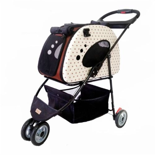 The beige polka dot cat stroller and carrier has removable carrier that can be used as a shoulder carrier or car seat Space-saving, eco-friendly design.