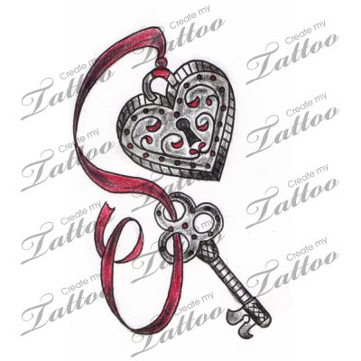 Marketplace Tattoo Vintage Heart Locket and Key Tattoo #3135 | CreateMyTattoo.com