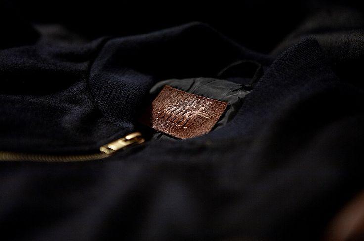Navy Blue & Cognac Baseball Jacket.   Details