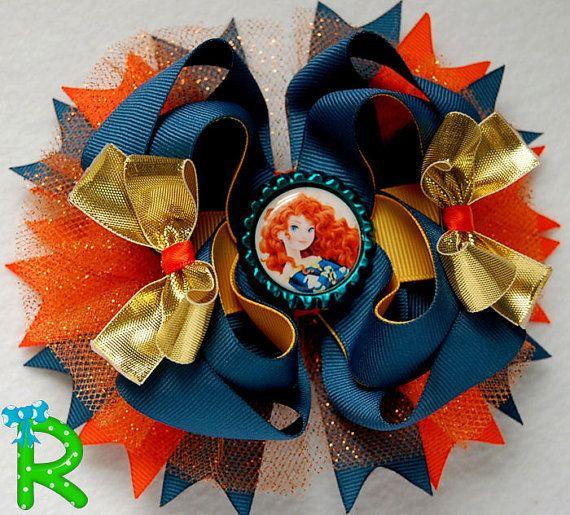 Merida Hair Bow Princess boutique bow  Disney by RoshelysBowtique