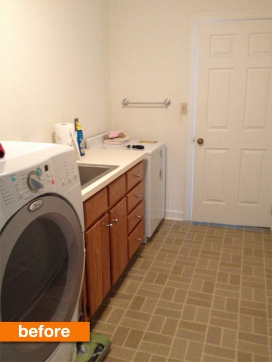 Before after a quick and cheap laundry room refresh for Inexpensive linoleum flooring