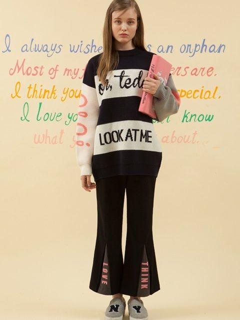 W CONCEPT : W컨셉 - [O!Oi :오아이 오아이] LOVE & THINK SLIT PANTS_black