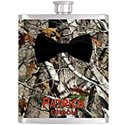 Black Bow Tie Groomsmen Camouflage Blaze Orange Bow Tie Flask with FREE Funnel - Mens Stainless Steel 8 oz Liquor Hip Flasks - Flask #344