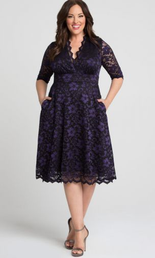 Plus size sizzling black and purple lace dress with pockets will be ...