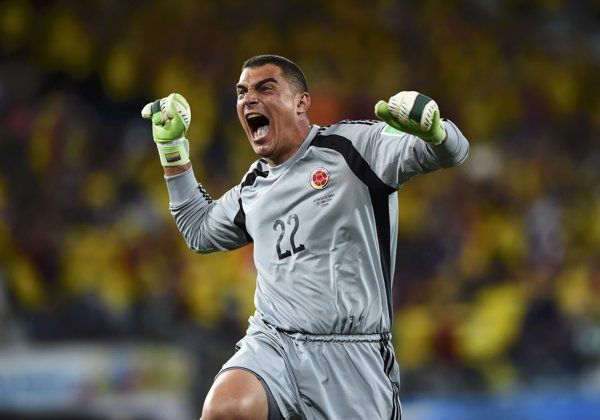 Colombia's goalkeeper Faryd Mondragon celebrates his team's fourth goal against Japan during their 2014 World Cup Group C soccer match at th...