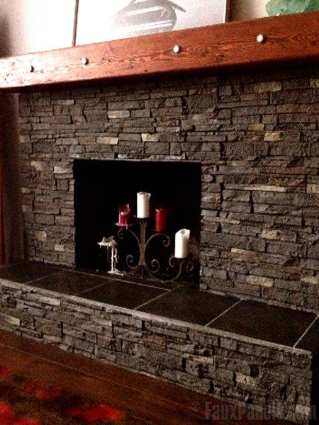 This rock for fireplace facing brings out a rustic, earthy tone in the room.