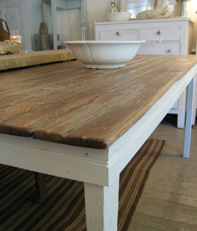 Old Farmhouse Table Top With New Painted Legs