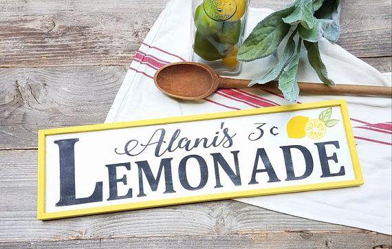 Lemonade Sign, Lemon Decor, Lemonade, Summer Decor, Summer Signs, Lemons, lemonade stand signs