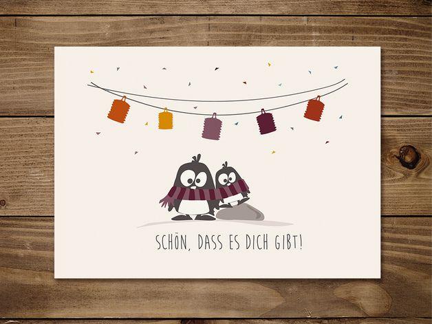 #Postkarte Schön, dass es Dich gibt mit #Pinguinen Oscar und Ole. #Freundschaft