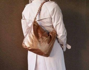 Bronze Leather Bag w Braided Handle 186b5db9c72bf