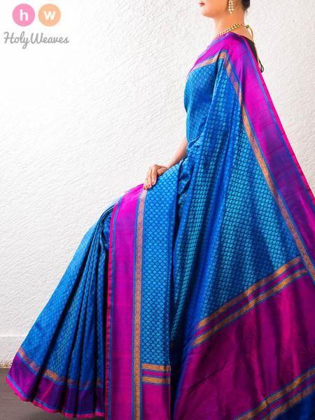 Blue Handwoven Katan Silk Jamawar Saree - HolyWeaves - 1