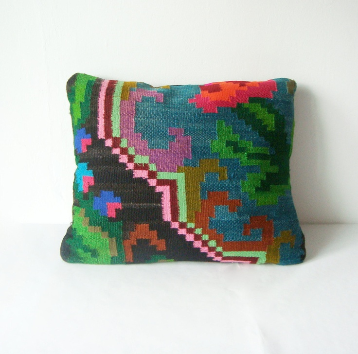 Bright Shapes - Kilim Pillow Cover - Bohemian Ethnic Wool Rustic Antique Romanian Hand Woven Turkish Kilim Pillow Case