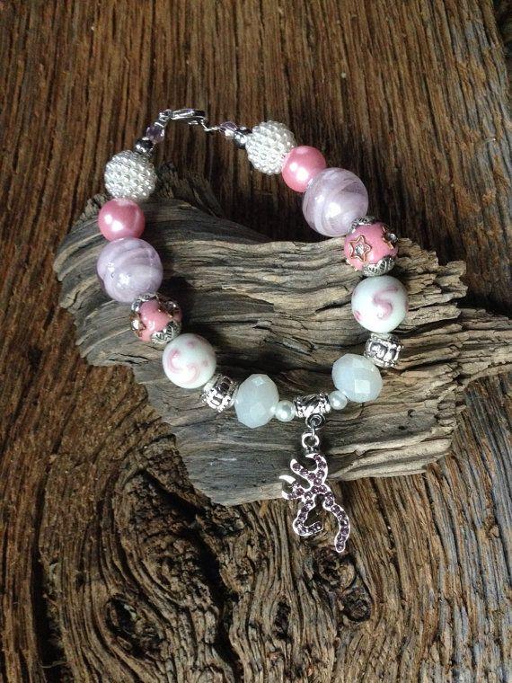 Browning Austrian crystal bracelet: pink crystal Browning deer