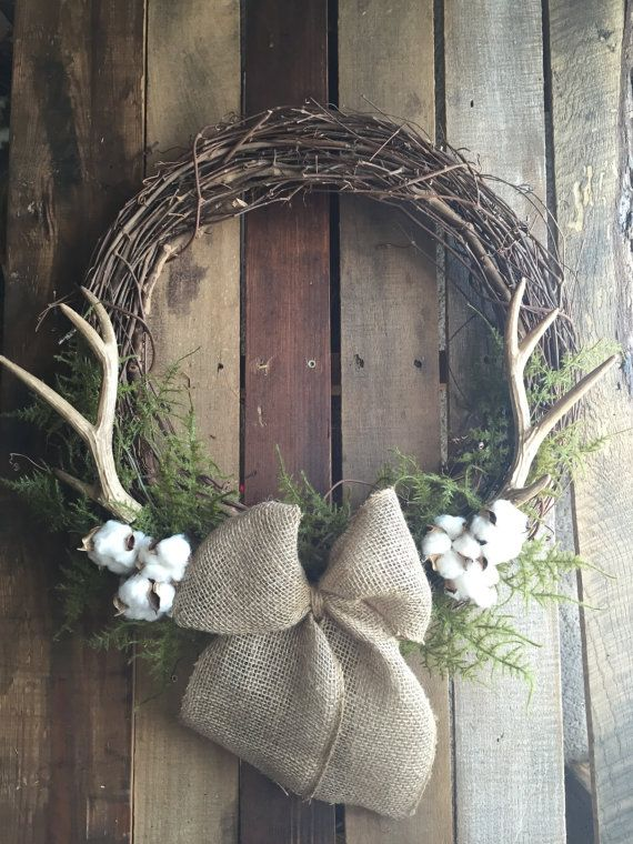 BEST SELLER Antler Wreath Cotton Wreath Rustic by CWdesignsShop