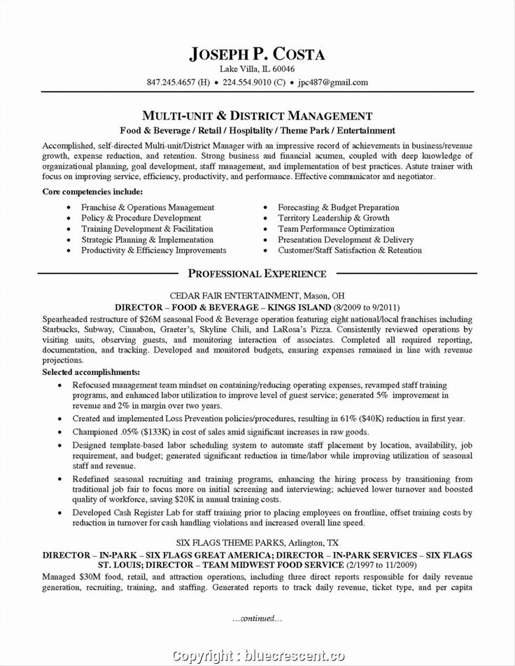 Food and Beverage Manager Resume Best Of Make F&b Manager