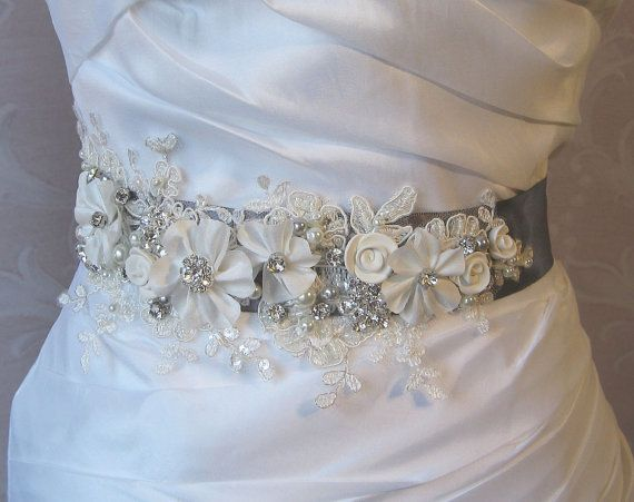 Gray Sash Pewter Grey and Ivory Bridal Sash by TheRedMagnolia, $178.00