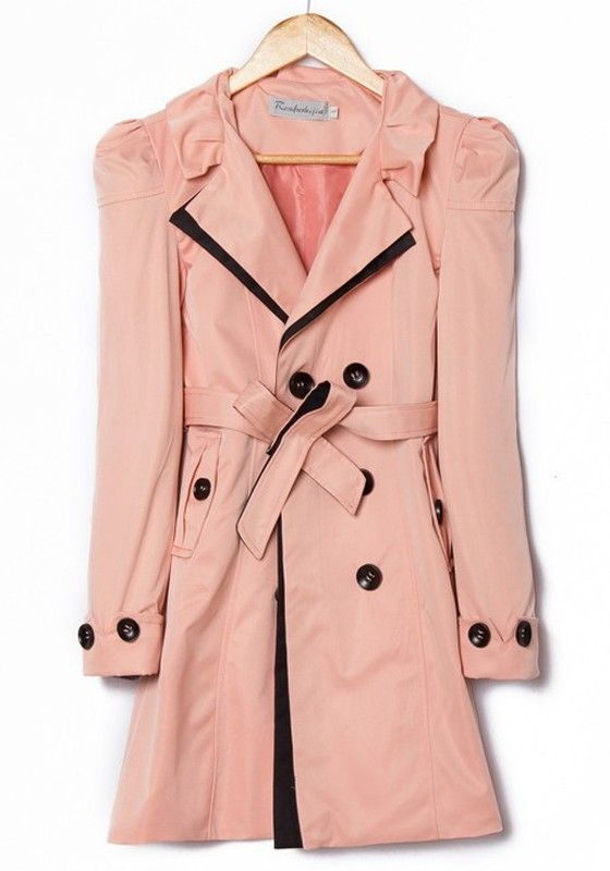 Pink Belt Double Breasted Cotton Blend Trench Coat